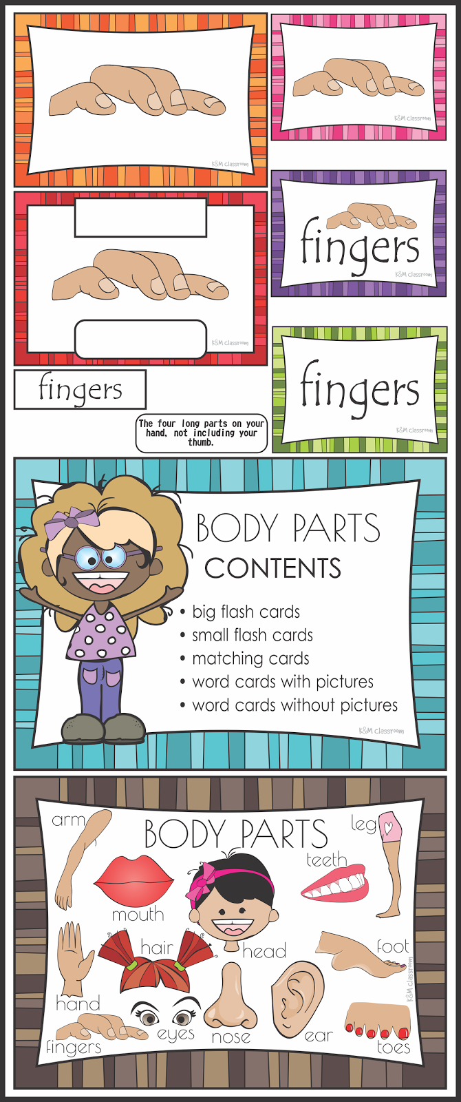 ESL Body Parts Flash Cards Word Cards Matching Cards