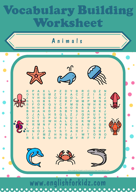 Sea animals word search worksheet - printable ESL materials