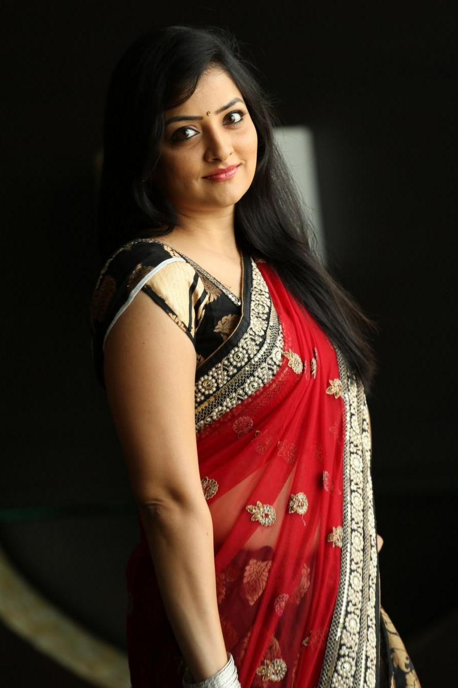 TV Actress Madhuri Hip Navel Stills In Red Saree