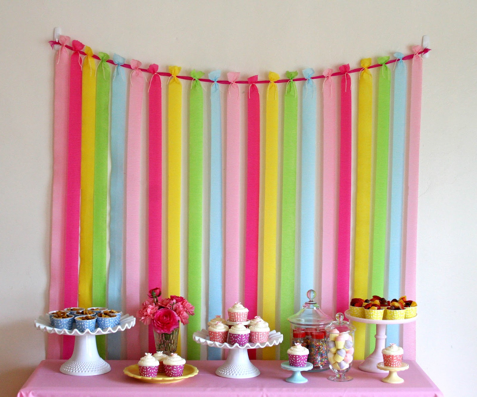 To Keep The Crepe Paper From Moving Too Much I Also Taped End Of Each Strip Wall Just Below Table Height