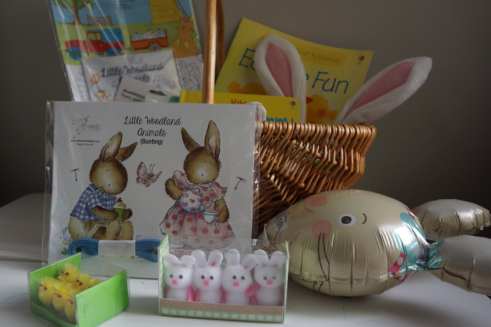 paper bunny bunting, small bunnies and chicks and bunny stick balloon