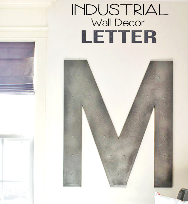 Industrial letter M wall decor