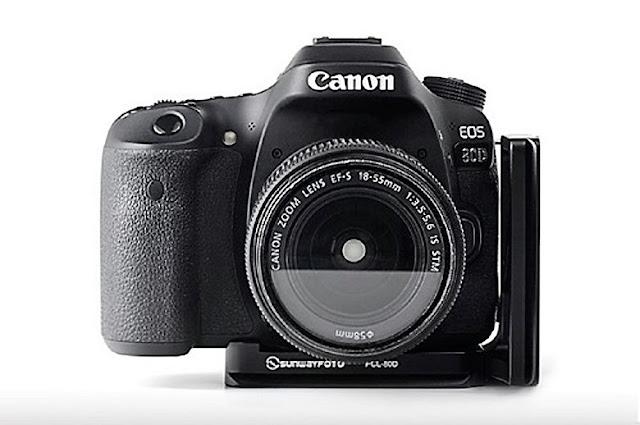 Sunwayfoto PCL-80D on Canon EOS 80D front view