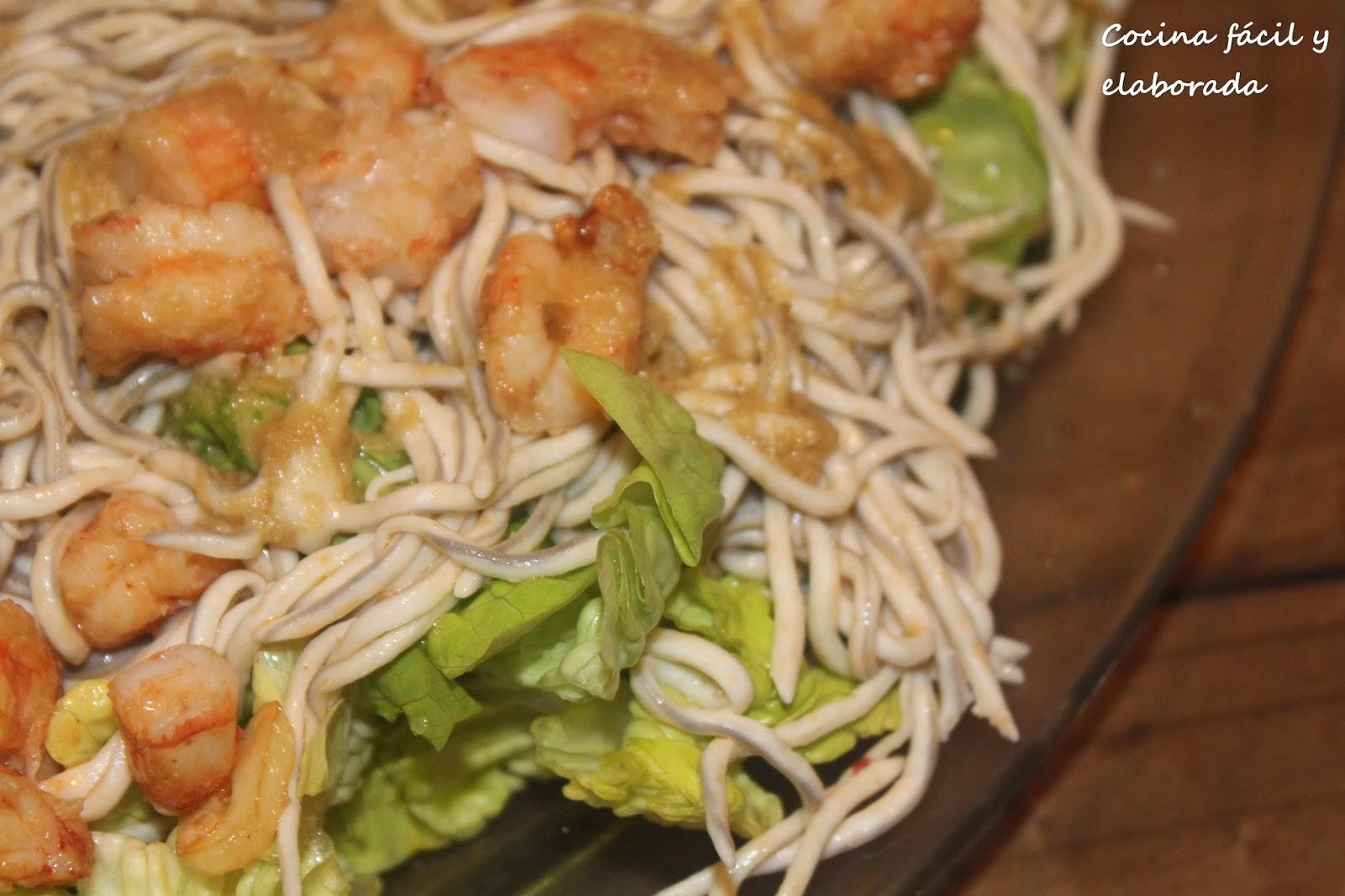 Cocina facil y elaborada ensalada templada de langostinos - Ensalada de langostinos ...