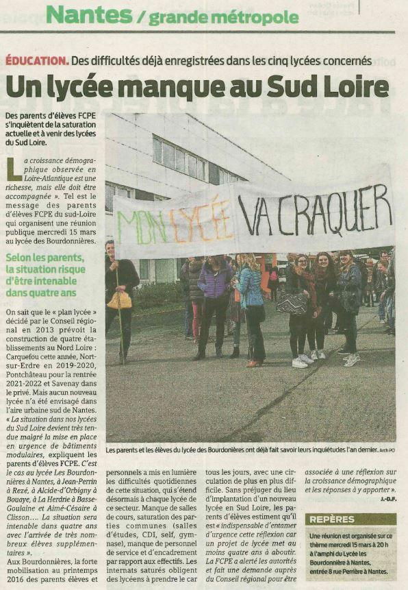 Presse Océan jeudi 8 mars 2017 Un lycée manque au sud Loire