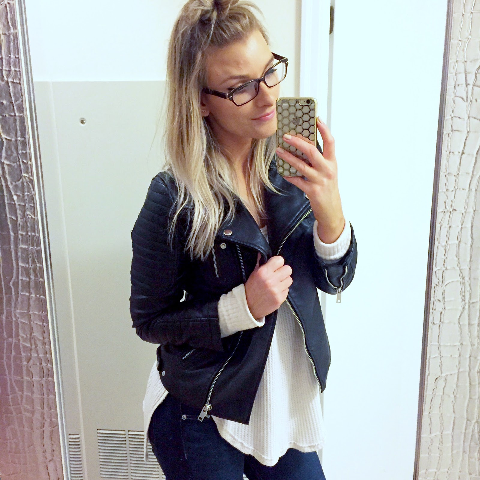 Leather jacket instagram - Faux Leather Jacket Similar Long Sleeve Thermal Another Fave