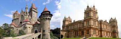 Split screen photo of Burg Kreuzenstein and Mentmore Towers
