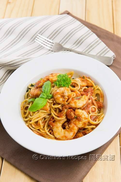 日曬蕃茄燴蝦意大利麵 Spaghetti with Prawns and Sundried Tomatoes01