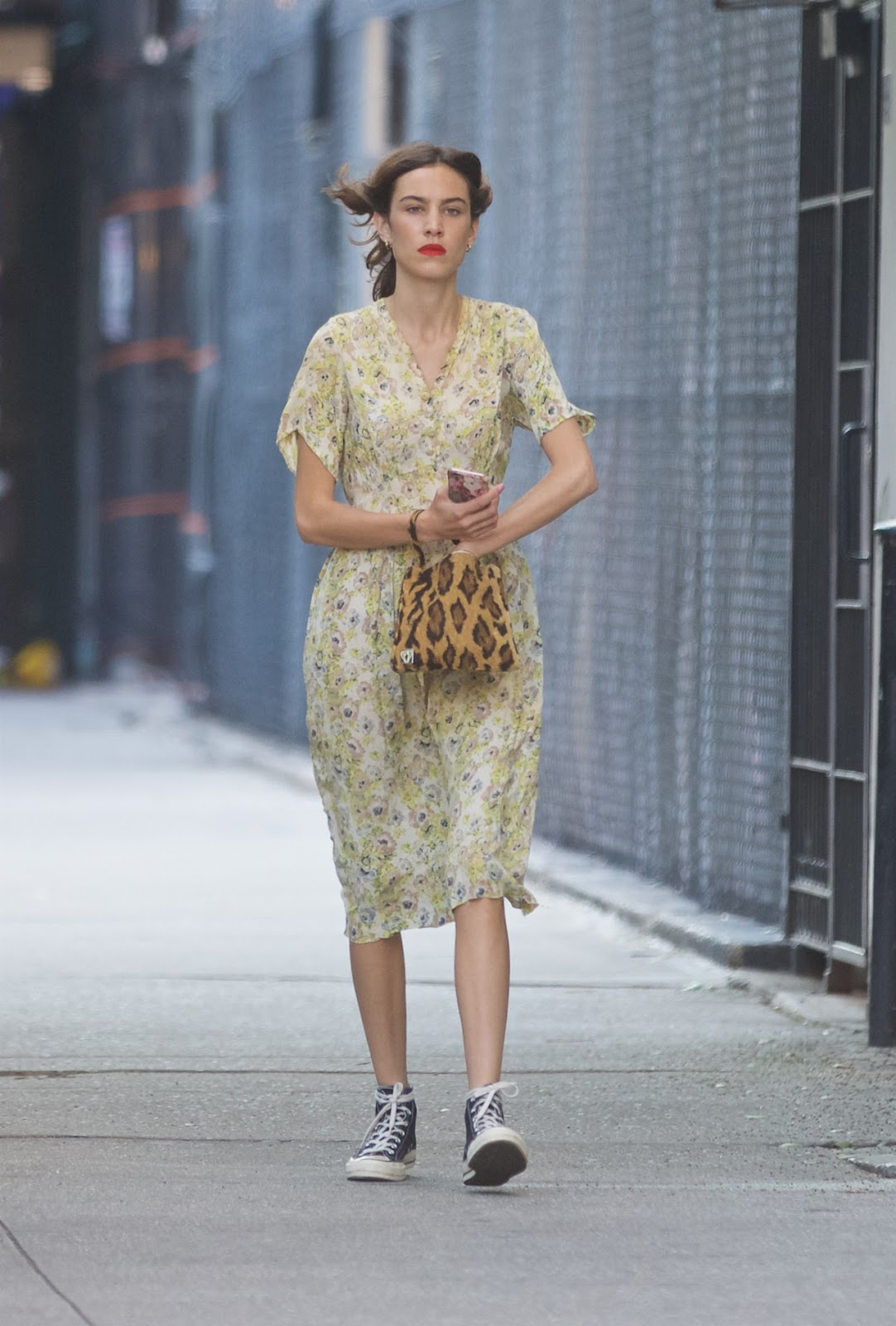 Alexa Chung Wears Vintage Florals Out in NYC