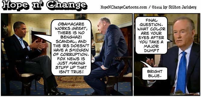 obama, obama cartoon, humor, political, hope n' change, hope and change, stilton jarlsberg, o'reilly, fox news, interview, benghazi, irs, tea party