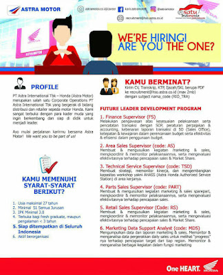 Karir PT.Astra International,Tbk -  Future Leader Development Program