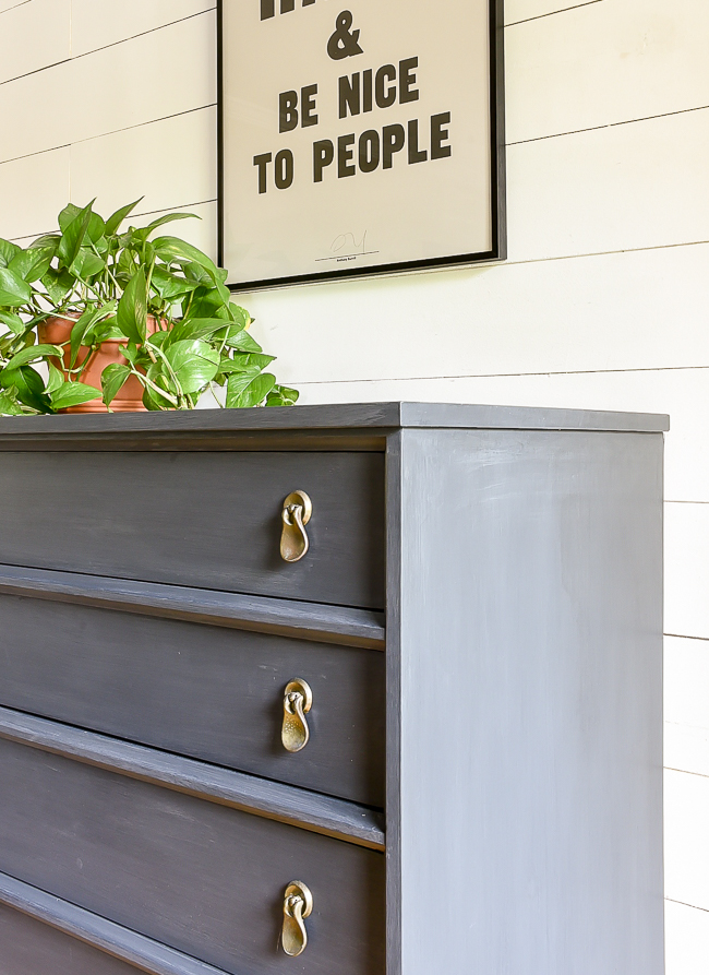 Charcoal chalk painted MCM dresser makeover