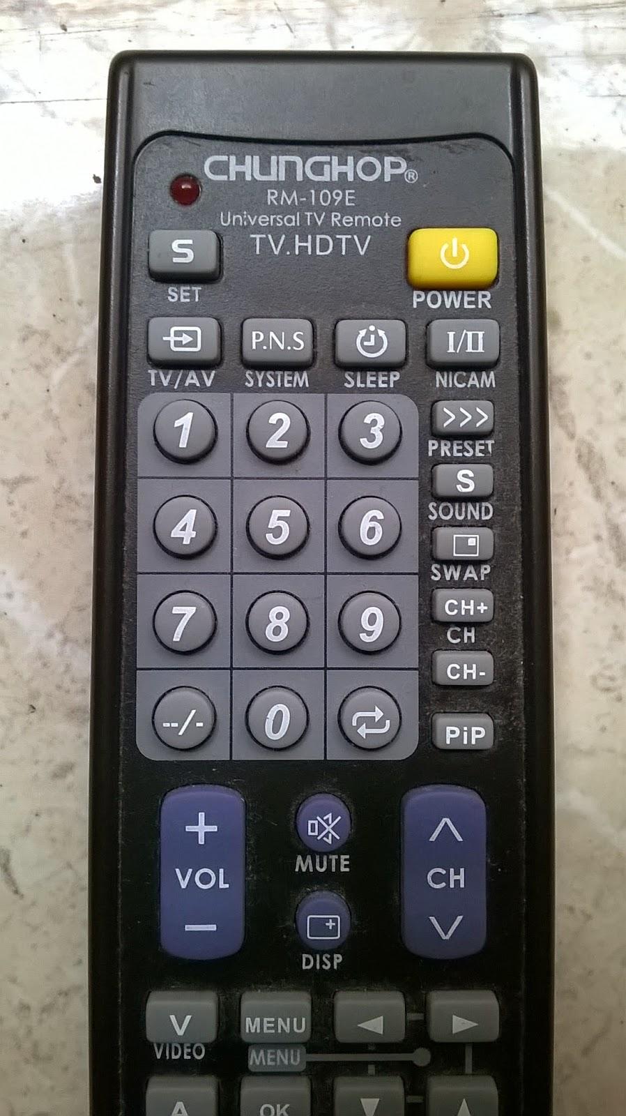 Cara Mudah Setting Universal Tv Remote Chunghop Rm109e Seberkas