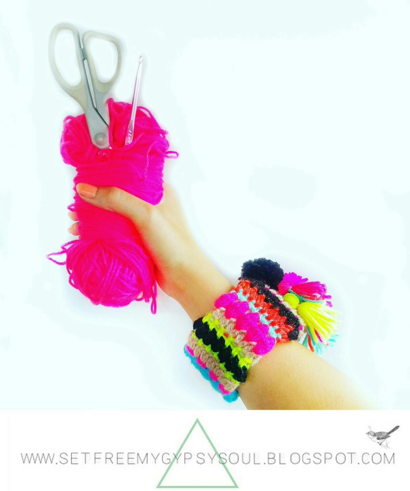 crochet bangle bracelet free pattern jewellery hippie boho upcycled