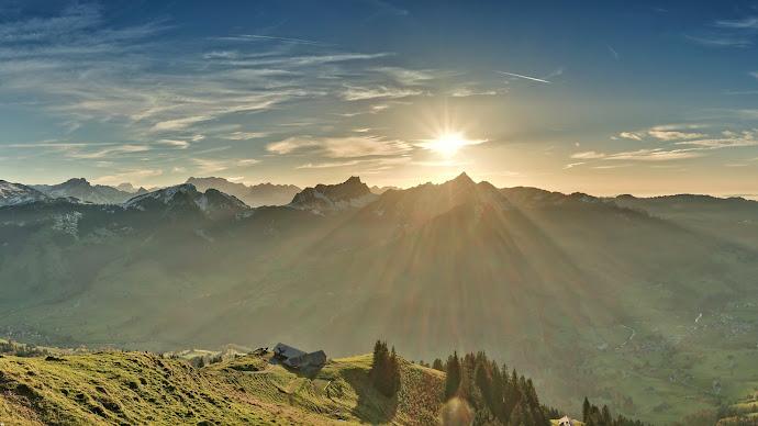 Wallpaper: Panorama. Scenery. Sun Rays. Landscape