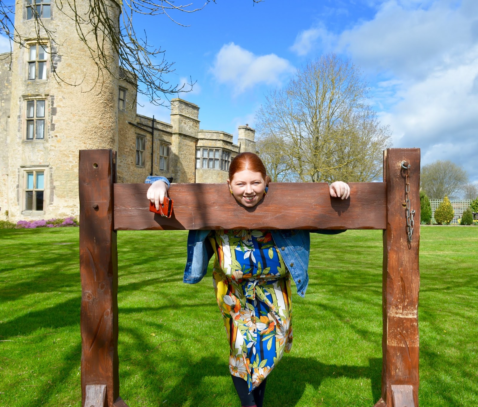 Sunday Lunch, Playgrounds & Birds of Prey at Walworth Castle, Darlington  - in the stocks