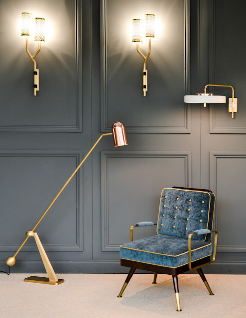 Bert Frank lighting in Brass, Copper & white at Decorex during London Design Festival 2016 #LDF16