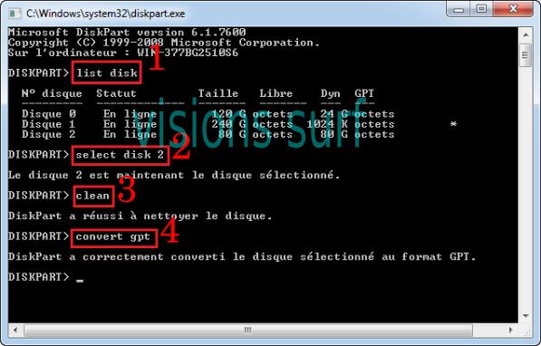 """Processus de conversion d'un disque dure avec """"DISKPART"""""""