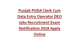 Punjab PUDA Clerk Cum Data Entry Operator DEO Jobs Recruitment Exam Notification 2018 Apply Online