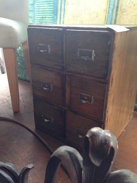 Small vintage card catalog