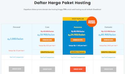 daftar paket hosting idwebhost murah