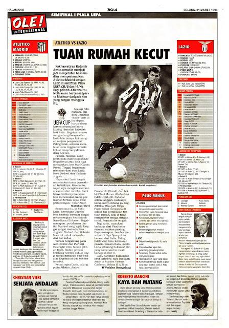 UEFA CUP 1998 SEMIFINAL ATLETICO MADRID VS LAZIO