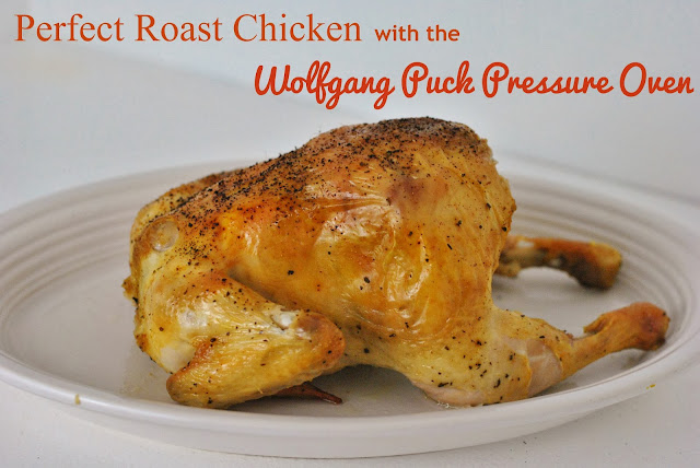 Roast chicken comes out moist and flavorful in a shorter amount of time with the Wolfgang Puck Pressure Oven. #cooking #food
