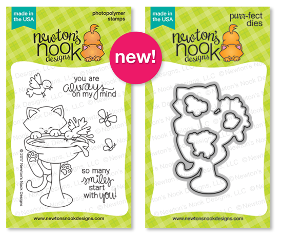 Cat and Birdbath Stamp Set | Newton's Birdbath Stamp set by Newton's Nook Designs #newtonsnook