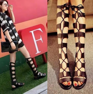 Women's Lace Up Roman Gladiator Knee High Sandals Boots Flat Heel Party Shoes