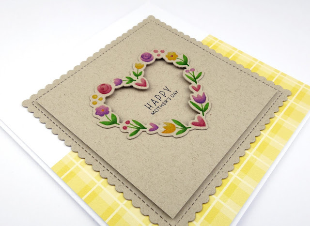 Floral heart wreath card with no-lines colouring on Kraft, using Floral hearts stamp and dies by Pretty Pink Posh