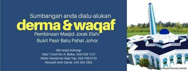 Derma dan Wakaf Masjid Jorak Elahi Bukit Pasir, Batu Pahat, Johor,