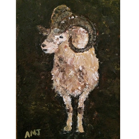 "Revisiting the bighorn sheep- 5""x7"" Art Card"