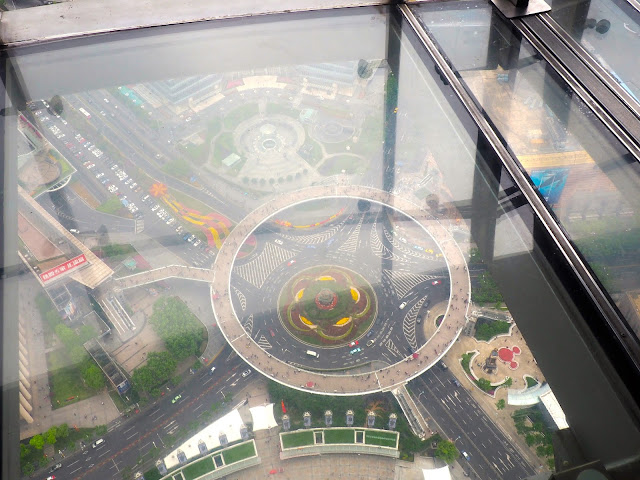View from the Oriental Pearl Tower's transparent floor, Shanghai, China