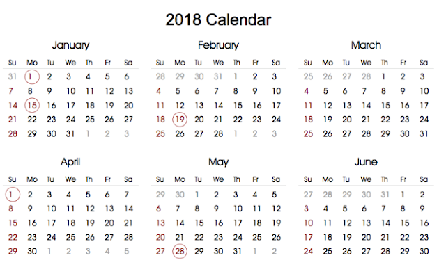 Printable 2018 Calendar with Holidays in portrait format ...