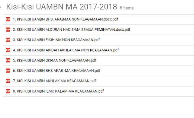 Download Kisi-KIsi UAMBN MA Tahun 2018 atau Tahun Pelajaran 2017/2018