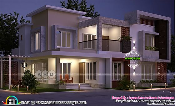 Night view rendering of 4 BHK box model house