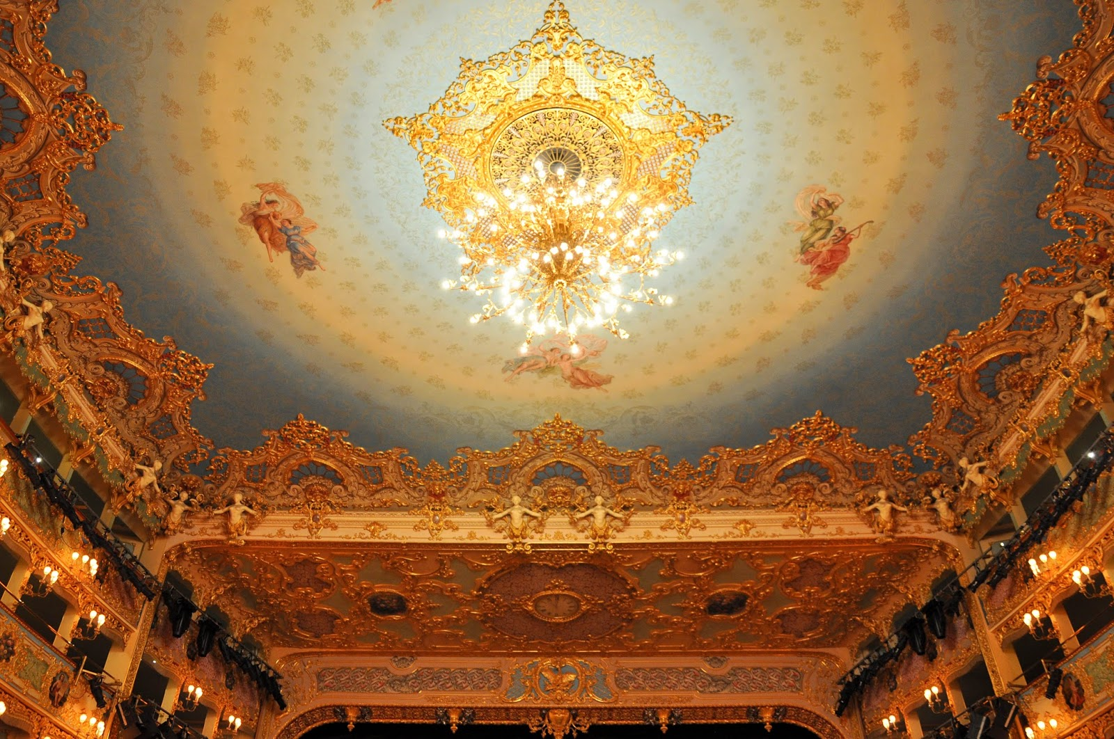 The blueceiling, La Fenice, Venice, Italy
