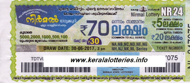 Nirmal Weekly lottery drawn on 30 June 2017