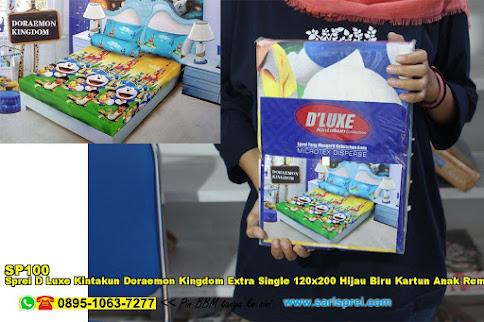 Sprei D Luxe Kintakun Doraemon Kingdom Extra Single 120x200 Hijau Biru Kartun Anak Remaja Micro Tex Disperse