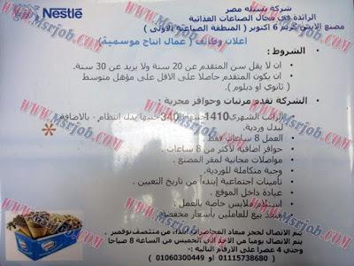 وظائف شركة نستله مصر 2016/2017