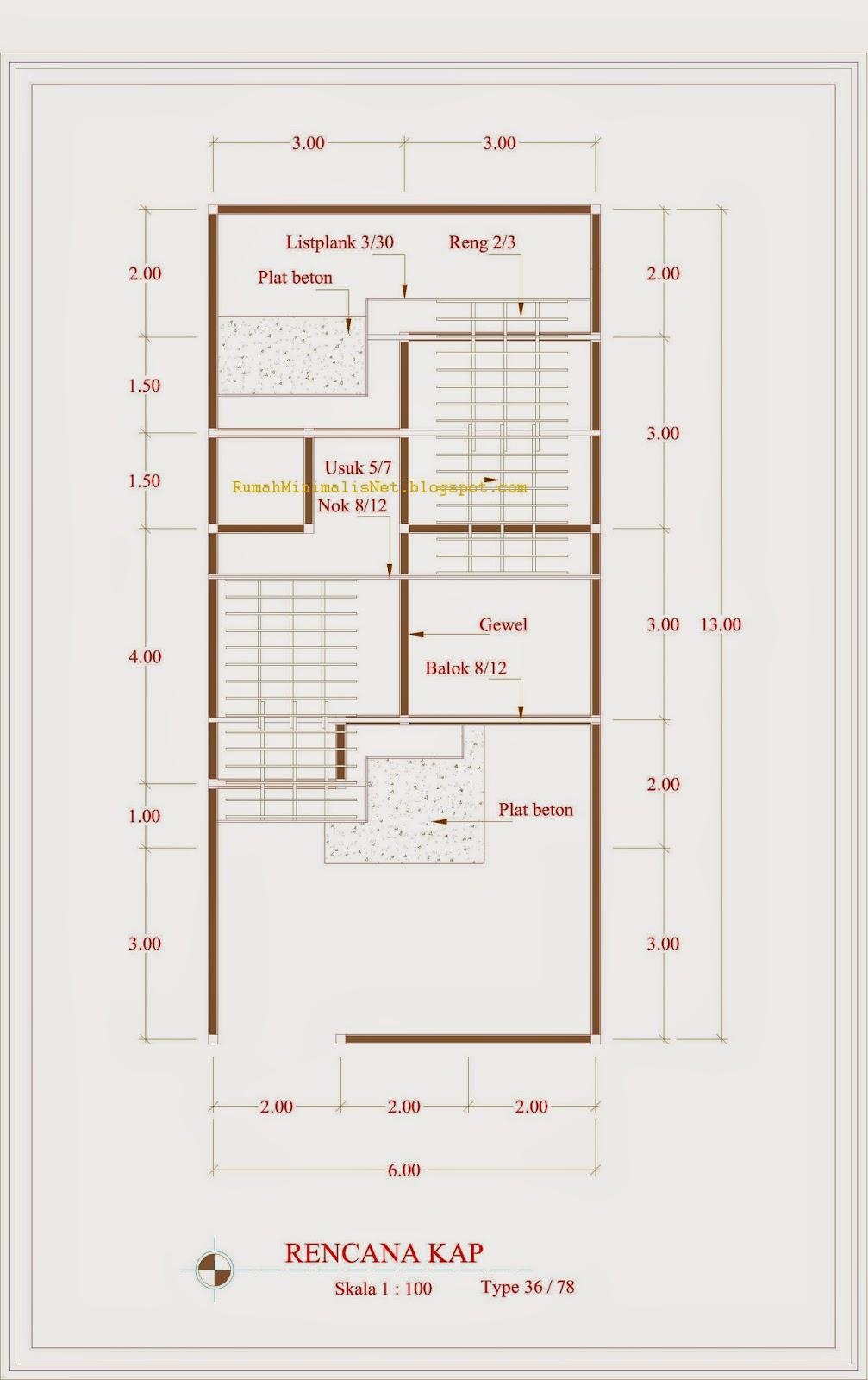 Contoh Denah Rumah Minimalis Type 36 78 Solusi Hunian