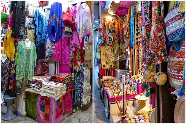 Angebot, Souk, Mutrah, Muscat, Kleider, Tücher, Körbe, Oman