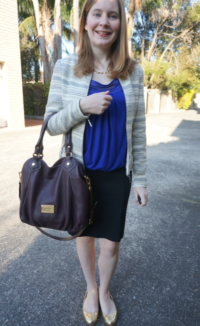 AwayFromBlue | Corporate Style Boucle Jacket cobalt blue top pencil skirt office wear
