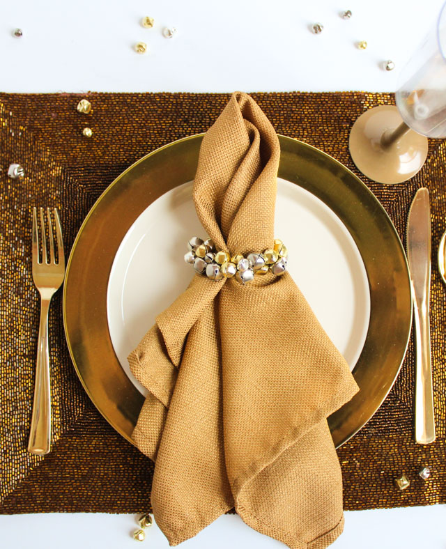 Make jingle bell napkin rings in minutes to add some sparkle to your Christmas place settings