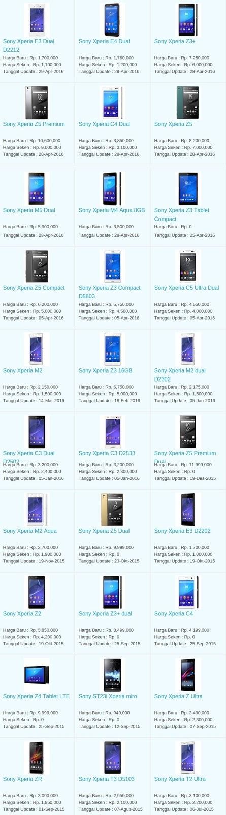 Daftar Harga Hp Terbaru Sony Mei 2016