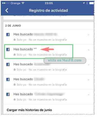 """Registro actividades Facebook: Has buscado """""""""""