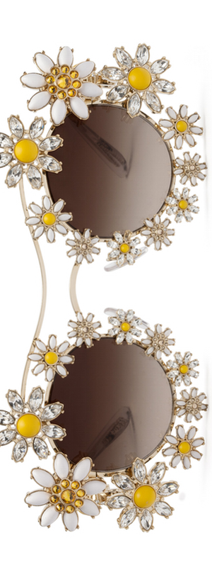 Dolce & Gabbana Golden Margherite Metal Sunglasses with Daisy Jewels