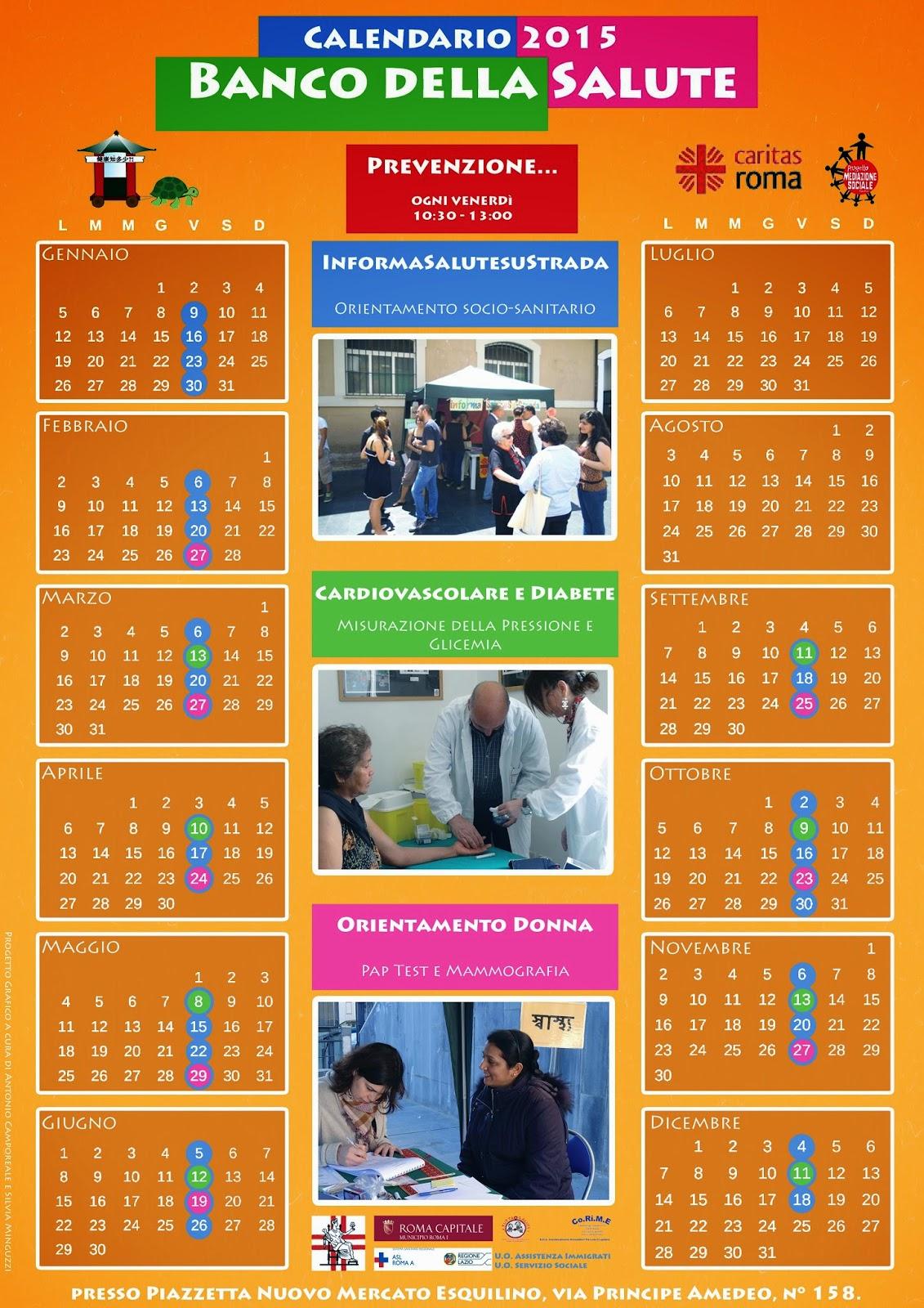 Calendario Della Salute.Progetto Mediazione Sociale Banco Della Salute Calendario