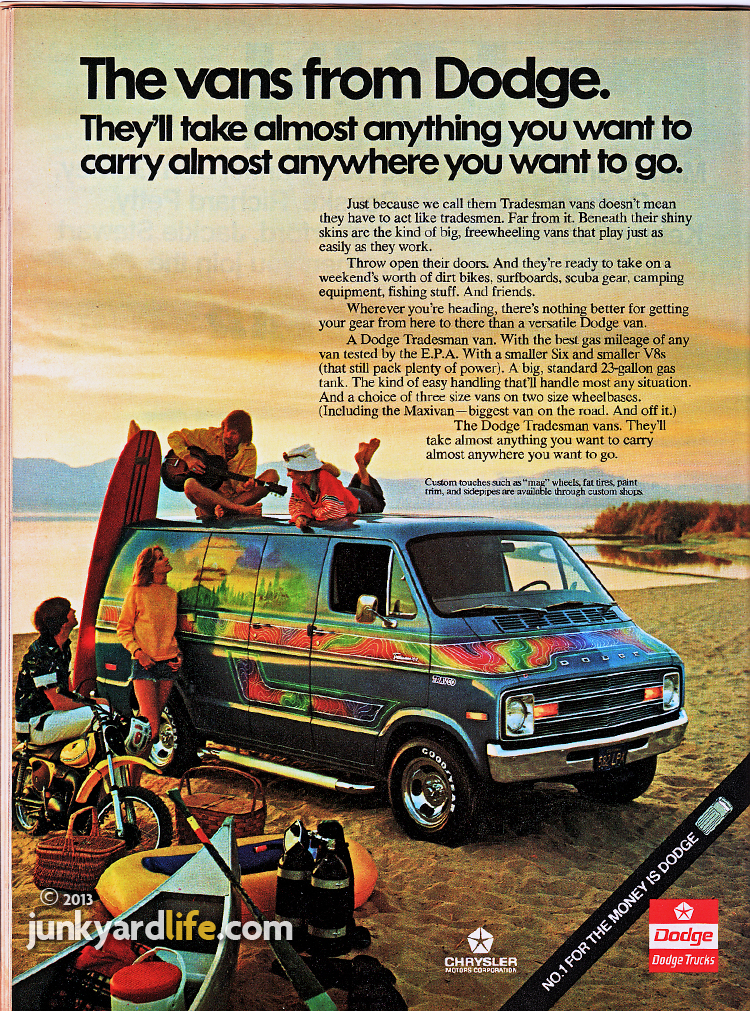 Dodge van ad from the 1970s features beach scene with trippy paint on new Dodge van.