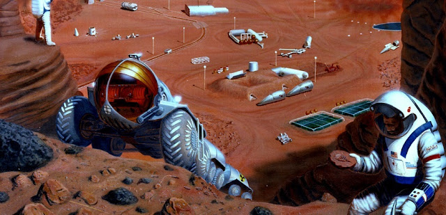 This artist's concept from 1985 depicts hardware which might be involved during manned missions to Mars. Image Credit: NASA